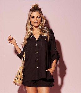 Camisa linho leve preto