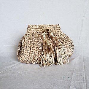 Bolsa clutch de luxo fascination crochet dourada bege