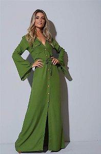 Chamise longa algodão crepe oliva