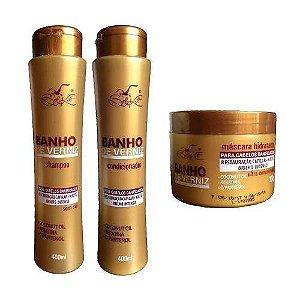 Kit De Tratamento Banho De Verniz Belkit ( Shampoo , Condicionador e Máscara)