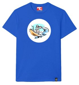 Camiseta Santo Swell Mouse Surfing Waves Algodão Manga Curta