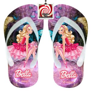 Barbie no Paraiso Chinelo Sandália Personalizado