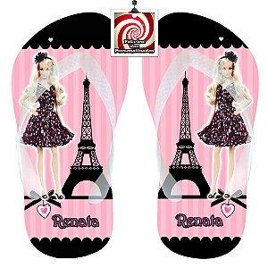 Barbie em Paris Chinelo Sandália Personalizado Preto e Rosa