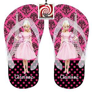 Barbie em Paris Chinelo Sandália Personalizado Preto e Pink