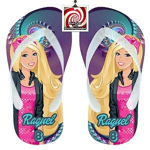 Barbie Chinelo Sandália Personalizado com nome e idade