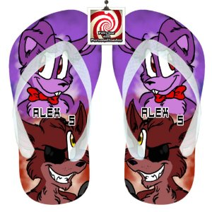 Five Nights at Freddys Chinelo Sandália Personalizado Lilás e Azul FNAF
