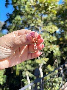 Argolinha Paradise Com Pedra Rosa