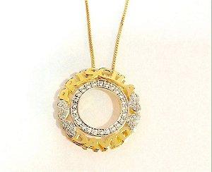 Mandala 3 cm - Com Aro interno em zircônia com nomes e corações.