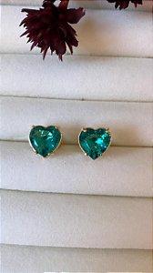 Brinco Coração Com Pedra Esmeralda Colombiana