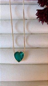 Colar Coração Com Pedra Esmeralda