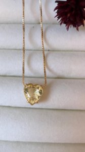 Colar Coração Com Pedra Safira Amarela