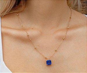 Colar Pedra Azul quadrada coleção Classic Blue