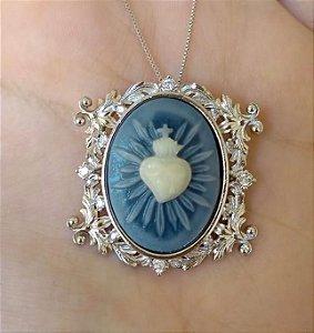 Colar Sagrado coração em Madrepérola - ouro branco