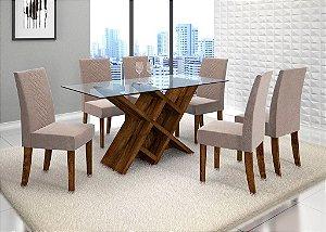 Mesa com 6 cadeiras Duomo Malbec c/ tampo de vidro - DJ Móveis