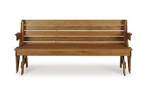 Banco que vira mesa em madeira para jardim