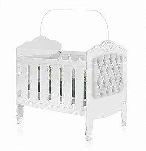 Berço mini cama 3 em 1 Provence Capitonê Branco Planet Baby