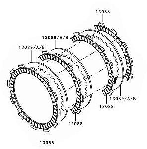 KIT EMBREAGEM (DISCOS E SEPARADORES) Z750 / Z800 ORIGINAL