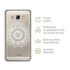 Capa para Galaxy J5 Metal - Mandala Branca