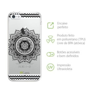 Capa Mandala Preta para Iphone 5