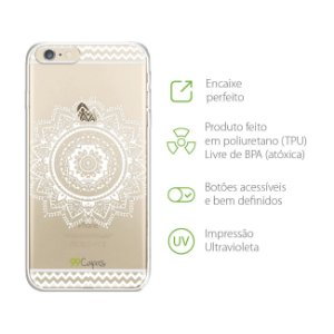 Capa para iPhone 6 Plus e 6s Plus - Mandala Branca