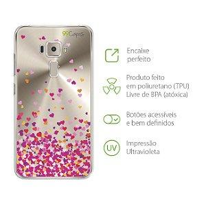Capa para Asus  Zenfone 3 - ZE552KL - 5,5 Polegadas - Corações Rosa