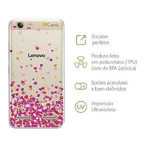 Capa para Lenovo Vibe K5 - Corações Rosa