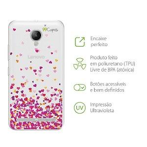 Capa para Lenovo Vibe C2 - Corações Rosa