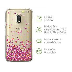 Capa para Moto G4 Play - Corações Rosa
