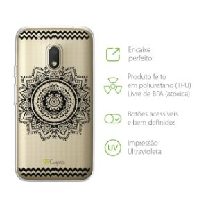 Capa Mandala Preta para Moto G4 Play