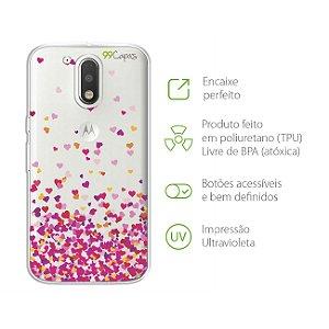 Capa para Moto G4 Plus - Corações Rosa