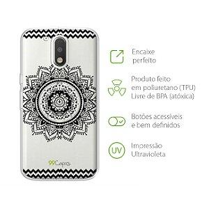 Capa Mandala Preta para Moto G4 Plus
