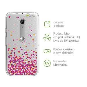 Capa para Moto G3 - Corações Rosa