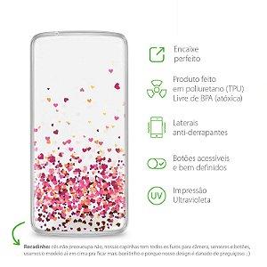 Capa para Moto Z Power / Style - Corações Rosa