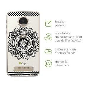 Capa Mandala Preta para Moto Z Play