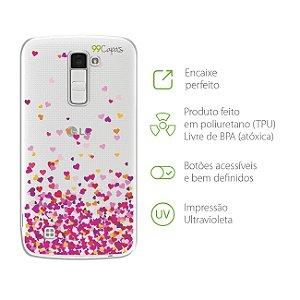 Capa para LG K10 2016 - Corações Rosa