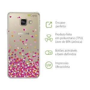 Capa para Galaxy A9/A9 Pro - Corações Rosa