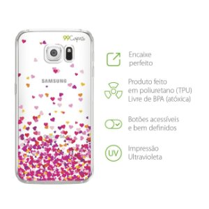 Capa para Samsung Galaxy S6 - Corações Rosa
