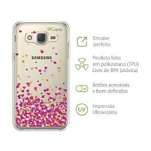 Capa para Sansumg Galaxy J3 - Corações Rosa