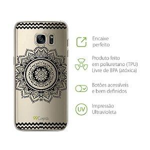 Capa Mandala Preta para Galaxy S7