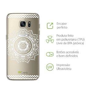 Capa Mandala Branca para Galaxy S7 Edge