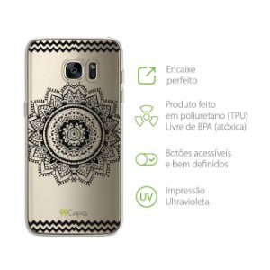 Capa Mandala Preta para Galaxy S7 Edge