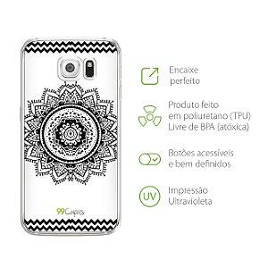 Capa Mandala Preta para Galaxy S6 Edge