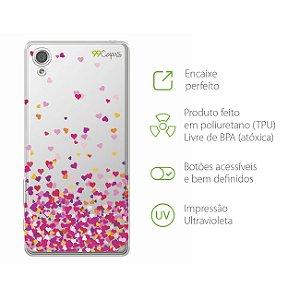 Capa para Sony Xperia X - Corações Rosa