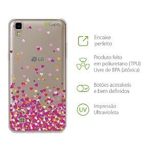 Capa para LG X Style - Corações Rosa