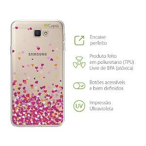 Capa para Samsung Galaxy J7 Prime - Corações Rosa
