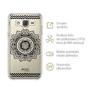 Capa Mandala Preta para Samsung Galaxy J2 Prime
