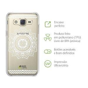Capa Mandala Branca para Samsung Galaxy J2 Prime