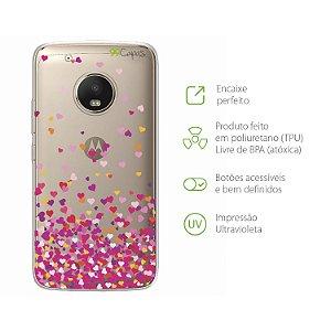 Capa para Moto G5 Plus - Corações Rosa