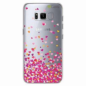 Capa para Galaxy S8 - Corações Rosa