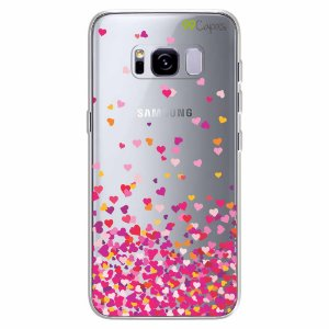 Capa para Galaxy S8 Plus - Corações Rosa